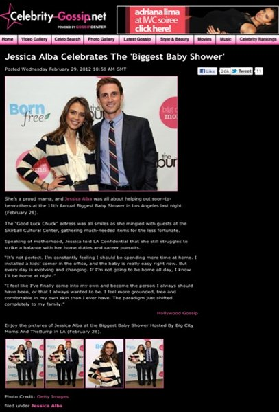 A smiling Jessica Alba, and her business partner, Christopher Gavigan, pose for the cameras at the Big City Moms event for new and expectant moms in L.A.  http://celebrity-gossip.net/jessica-alba/jessica-alba-celebrates-biggest-baby-shower-590452