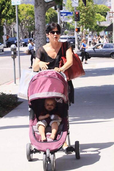 Selma Blair and son, Arthur, were seen strolling around with our Born Free bottle.